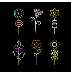 Neon flower icons vector