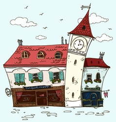 Old houses vintage facades old europe cartoon vector