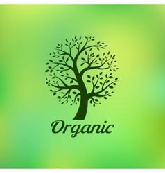 Organic green tree logo eco emblem vector