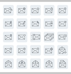 Outline web icon set emailmessage vector image
