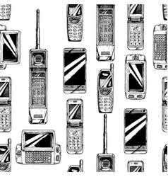 Pattern with mobile phone vector