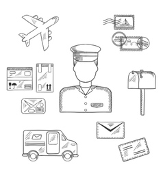 Postman and shipping sketch icons vector image