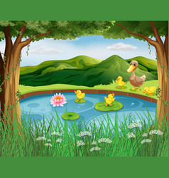scene with pond and mountain vector image