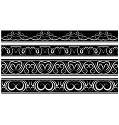 Set of borders white pattern on black vector