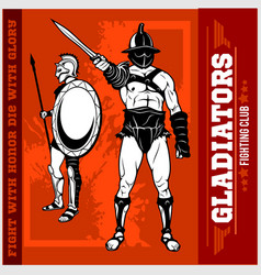 set of gladiators on red background vector image
