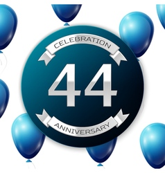 Silver number forty four years anniversary vector