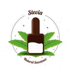 Stevia natural sweetener inside spoon vector
