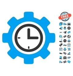 Time setup gear icon with free bonus vector
