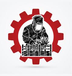 welding with sparks welder working vector image
