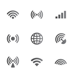wireless network symbol object set vector image vector image