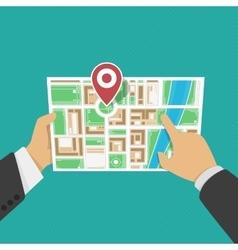 Map in hands vector image