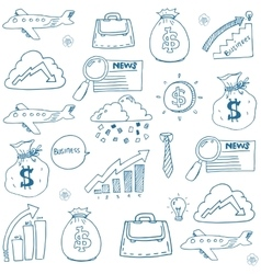 Doodle set business hand draw vector