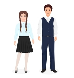 School little kids boy and girl together in formal vector