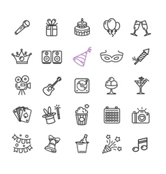 Party icon thin line set vector