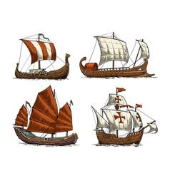 Trireme caravel drakkar junk set sailing ships vector