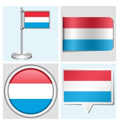 Luxembourg flag - sticker button label vector image