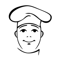 Young chinese cook contour portrait vector