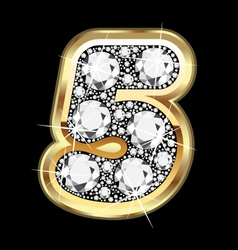 5 number gold and diamond vector image vector image