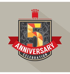 5 years anniversary badge design vector