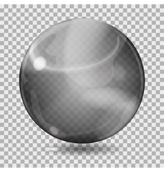 Black transparent glass sphere vector