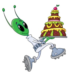 alien with cake vector image