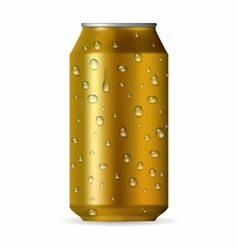 Realistic gold aluminum can with drops vector
