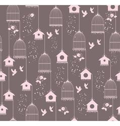vintage bird house seamless vector image