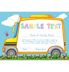 Certificate template with school bus vector