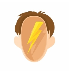 Head with a lightning icon cartoon style vector