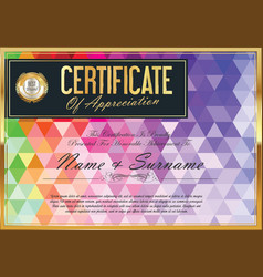abstract colorful certificate with triangle 04 vector image
