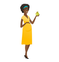 African-american pregnant woman holding apple vector