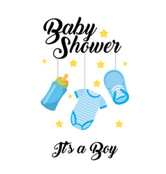 baby shower its a boy clothes bottle shoe hang vector image