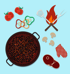 Bbq grill party top view cooking vector