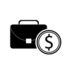 briefcase and coin icon vector image vector image