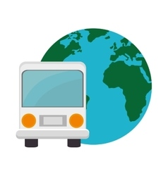 Bus and earth planet vector