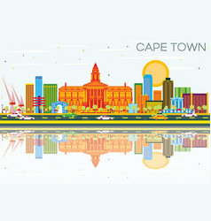 Cape town skyline with color buildings blue sky vector