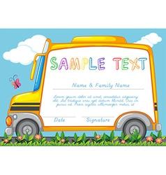 Certificate template with school bus vector