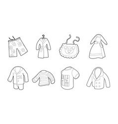 clothes icon set outline style vector image vector image