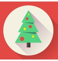Color icon of christmas tree Flat designed style vector image vector image