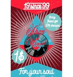 Color vintage music shop poster vector image