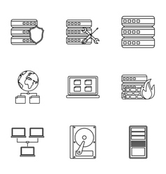 Computer data icons set outline style vector