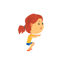 Cute sportive girl squatting kids physical vector