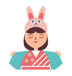 cute woman japanese cartoon vector image