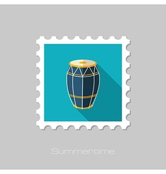 Drum flat stamp summer vacation vector