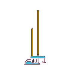 dustpan and broom in color sections silhouette vector image vector image