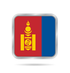 flag of mongolia metallic gray square button vector image vector image