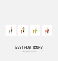 flat icon people set of boys mother grandpa vector image vector image