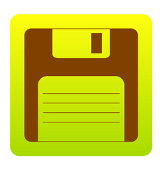 Floppy disk sign brown icon at green vector