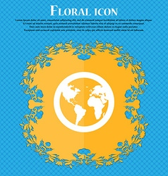 Globe icon sign floral flat design on a blue vector