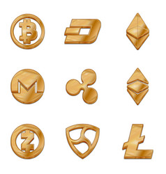 Golden cryptocurrency trendy 3d style icon vector